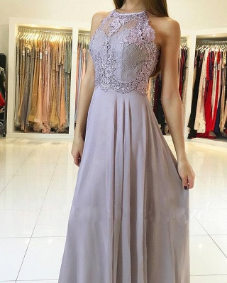 Elegant long chiffon evening dresses with lace prom dresses cheap online_1