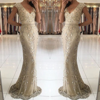 Fashion Evening Dresses Beige Long Cheap Lace Prom Dresses Evening Wear_2