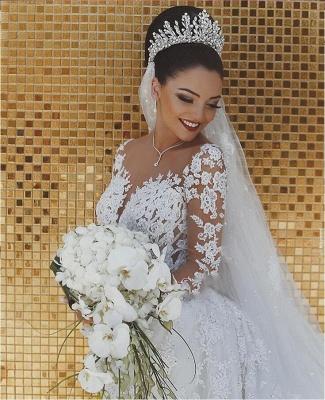 Luxury Brautkleider Spitze Weiße Hochzeitskleider Mit Ärmel Schleier_3