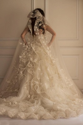 A Line Wedding Dresses White With Lace Tulle Tugs Wedding Gowns Bridal_2