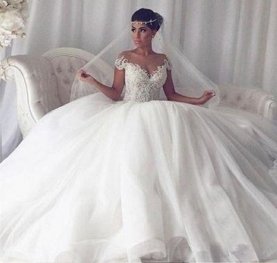Elegant Weiße Hochzeitskleider Mit Spitze Prinzessin Tüll Brautkleider_3