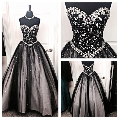 Black Prom Dresses Long Cheap Beaded Prizessin Quinceanera Dresses Cheap_2