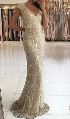 Fashion Evening Dresses Beige Long Cheap Lace Prom Dresses Evening Wear_1