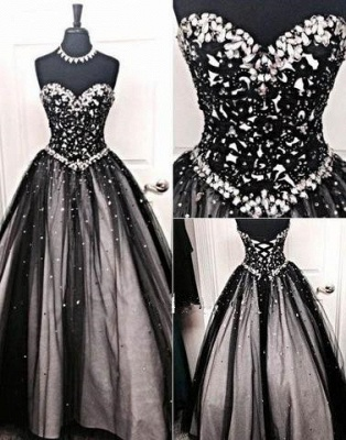 Black Prom Dresses Long Cheap Beaded Prizessin Quinceanera Dresses Cheap_1