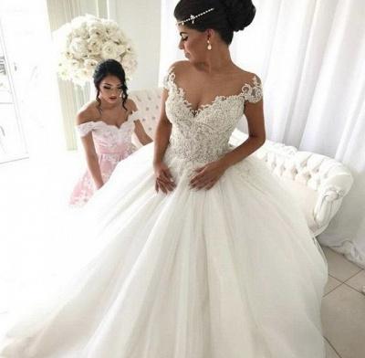 Elegant Weiße Hochzeitskleider Mit Spitze Prinzessin Tüll Brautkleider_2
