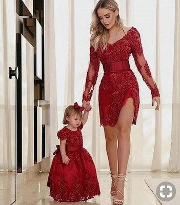 Cheap Flower Girl Dresses Wine Red Lace Child Dresses For Wedding_1