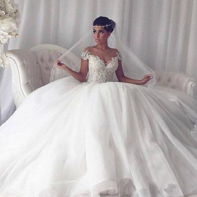 Elegant Weiße Hochzeitskleider Mit Spitze Prinzessin Tüll Brautkleider_4
