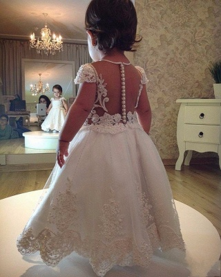 White flower girl dresses long with lace flower girl dresses cheap_2