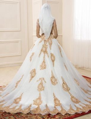 Goldene Weiße Brautkleider Mit Ärmel A Linie Organza Hochzeitskleider Online_2