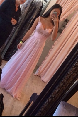 Pink Long Evening Dresses With Lace Chiffon Floor Length Evening Wear Prom Dresses_1