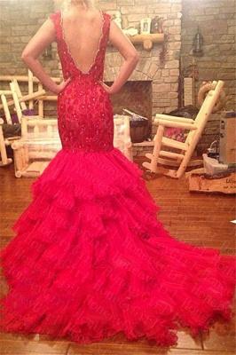 Rot Abendmoden Abschlussballkleider Lang Mit Spitze Organza Meerjungfrau Abendkleider_2