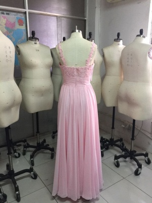 Pink Long Evening Dresses With Lace Chiffon Floor Length Evening Wear Prom Dresses_2