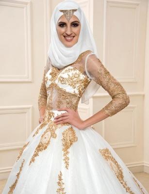 Goldene Weiße Brautkleider Mit Ärmel A Linie Organza Hochzeitskleider Online_3