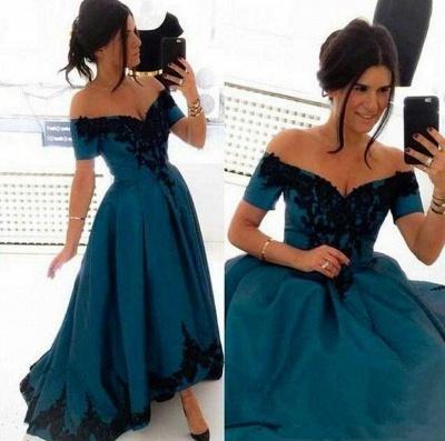 Blau Abschlussballkleider Lang Günstig Schulterfrei Prinzessin Abendkleider Ballkleider_2