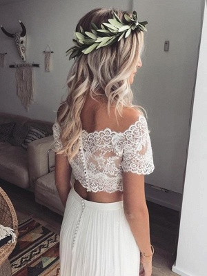 Simple Wedding Dresses With Lace Short Sleeves 2 Piece Wedding Dresses Chiffon_2