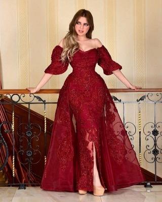 Designer Abendkleider Mit Ärmel | Rote Abiballkleider Mit Spitze_2