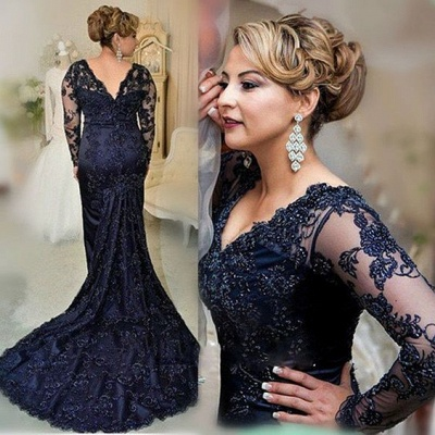 Large Size Evening Dresses Long Sleeves Navy Blue Mermaid Lace Evening Wear Party Dresses_2