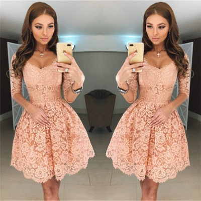 Simple cocktail dresses with sleeves A line lace evening dresses short_2
