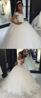 Mordern Wedding Dresses Tulle Lace Princess Bridal Gowns Cheap_3