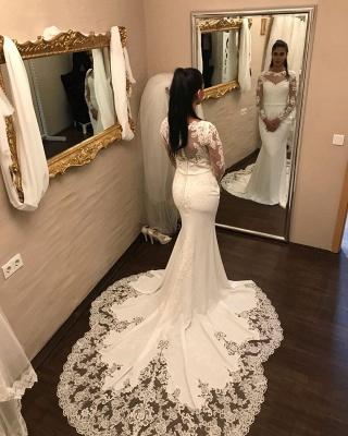 Elegante Brautkleider mit Ärmel | Spitze Brautmoden Meerjungfrau_2