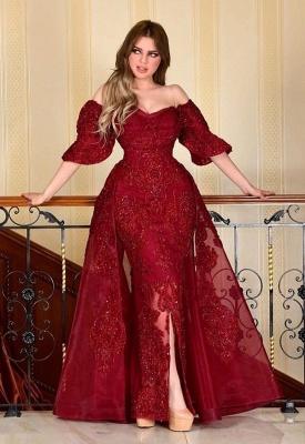 Designer Abendkleider Mit Ärmel | Rote Abiballkleider Mit Spitze_4