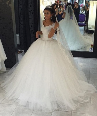 Mordern Wedding Dresses Tulle Lace Princess Bridal Gowns Cheap_1