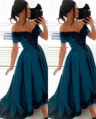 Blau Abschlussballkleider Lang Günstig Schulterfrei Prinzessin Abendkleider Ballkleider_1