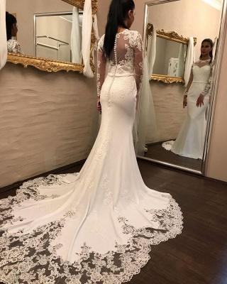 Elegante Brautkleider mit Ärmel | Spitze Brautmoden Meerjungfrau_1