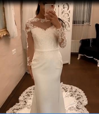 Elegante Brautkleider mit Ärmel | Spitze Brautmoden Meerjungfrau_3