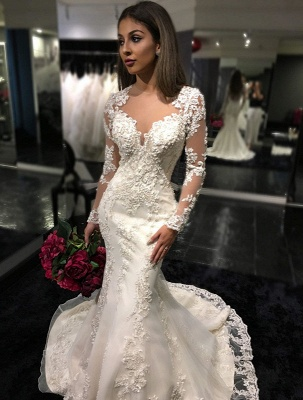 Beautiful White Wedding Dresses Long Sleeves Heart Mermaid Organza Wedding Gowns_1