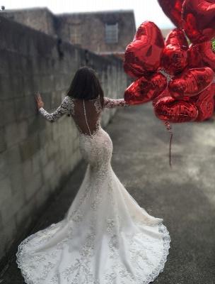 Beautiful White Wedding Dresses Long Sleeves Heart Mermaid Organza Wedding Gowns_2