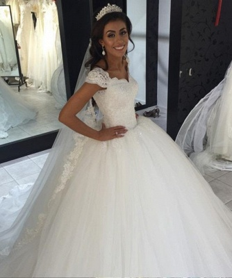 Mordern Wedding Dresses Tulle Lace Princess Bridal Gowns Cheap_2