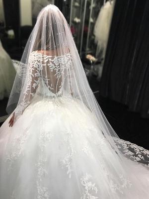 Weiße Prinzessin Brautkleider Mit Ärmel Tüll Hochzeitskleider Günstig_2