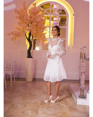 beautiful wedding dresses short | Lace wedding dresses with sleeves_2