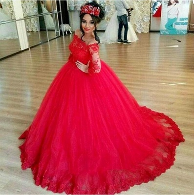 Luxury Long Sleeves Evening Dresses With Lace Tulle Evening Wear Party Dresses Cheap_2