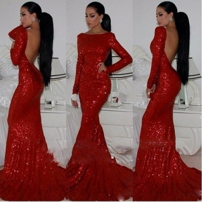 Red evening dresses with sleeves mermaid sequins evening wear online_2