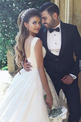 White Wedding Dresses With Lace Princess Satin Wedding Gowns Bridal_3