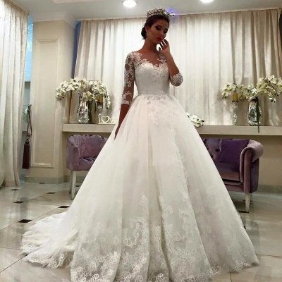 White Wedding Dresses With Sleeves Lace A Line Organza Bridal Wedding Gowns_2