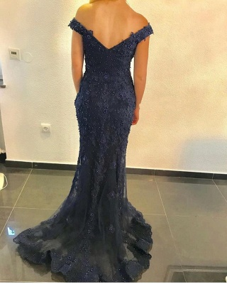 Navy Blue Evening Dresses Long Cheap | Lace evening dress online_3