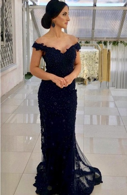 Navy Blue Evening Dresses Long Cheap | Lace evening dress online_1