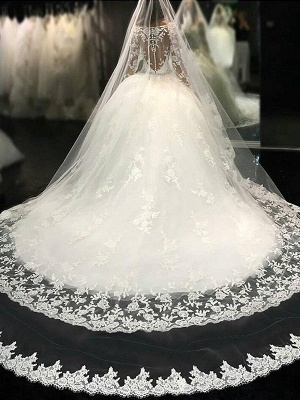 White princess wedding dresses with sleeves tulle wedding gowns cheap_1