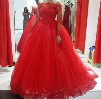 Luxury Long Sleeves Evening Dresses With Lace Tulle Evening Wear Party Dresses Cheap_3