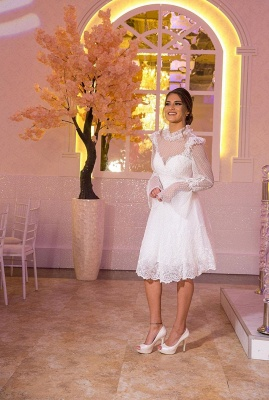 beautiful wedding dresses short | Lace wedding dresses with sleeves_1