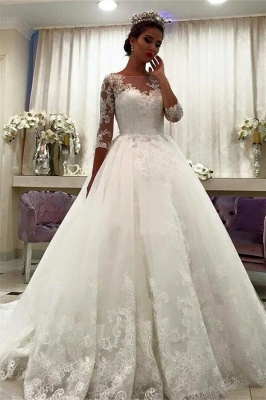 White Wedding Dresses With Sleeves Lace A Line Organza Bridal Wedding Gowns_1