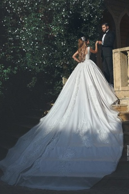 White Wedding Dresses With Lace Princess Satin Wedding Gowns Bridal_2