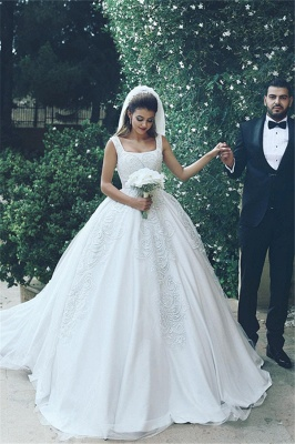 White Wedding Dresses With Lace Princess Satin Wedding Gowns Bridal_1