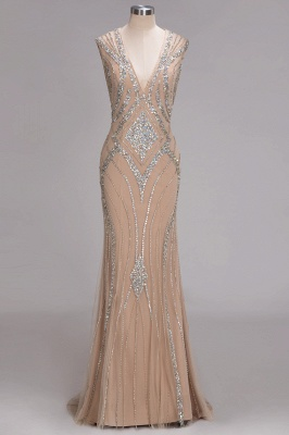 Fashion Evening Dresses Long Cheap Crystal Floor Length Evening Dresses_1