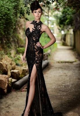 Elegante Abendkleider Lang Schwarz | Abiballkleider mit Spitze_1