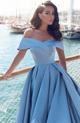Fashion Blau Abendkleider Lang Günstig Schulterfrei Abendmoden Partykleider_3