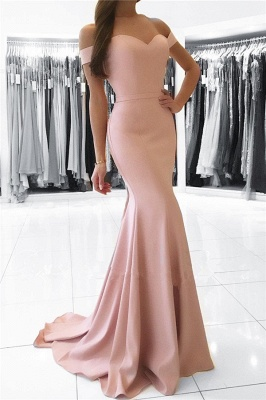 Schlicht Rosa Abendkleider Lang Günstig Schulterfrei Meerjungfrau Abendmoden Unter 100_1